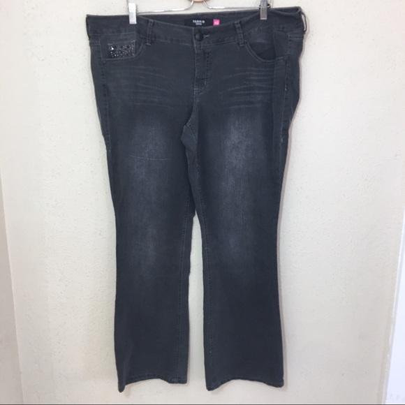 Torrid Slim Boot Jean Gray Rhinestone Accent 20